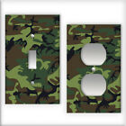 Dark Green Camo Pattern - Light Switch / Outlet Cover All Styles D0026