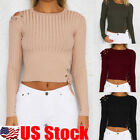 womens crew neck jumpers - Womens Long Sleeve Ribbed Crew Neck Crop Tops Short Plain Jumper Pullover Blouse