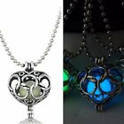 """5/8"""" HOLLOW HEART Glow in the Dark Pendant 17"""" Luminous Chain Necklace"""