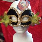 Accessory Deluxe Venetian CARNIVAL MASK Fancy Masquerade Black & Gold w Flowers