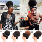 Women Afro Curly Puff Bun Ponytails Synthetic Clip In Drawstring Hair Extensions