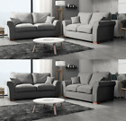 New Bailey‬ 3 + 2 Seater Sofa Set Plain Fabric Grey Silver Charcoal Beige Formal