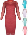 Womens Plus Size Long Sleeve Chiffon Spot Lined Midi Dress Stretch Calf Length
