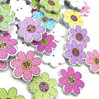 100pc Flowers Buttons Wooden Sewing Scrapbooking decoration Mixed 2-Holes W408