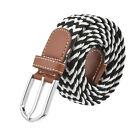 Unisex Fashion Leather Braid Elastic Stretch Cross Buckle Casual Belt Waistband