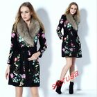 Winter Ladies Fashion Real Fur Collar Belted Long Parka Floral embroidery Coat