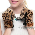 Nappaglo Women Lambskin GENUINE Leather Leopard Stitching Gloves Winter Warm New