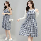 2PCS Set Dress Nursing Breastfeeding Checked Empire Waist Comfy Slim Cute M/L/XL
