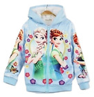 Frozen Anna Elsa Fleece-Lined Hoodie Sweatshirt Jacket Toddler Girls Kids O37