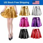 Metallic Pleated Skirt Skater Skirt Flared Short Shiny Liquid Wet Look Sexy