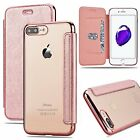 Clear Back Leather Flip Case Silicone Cover Wallet for iPhone X 10 6s 7 8 plus