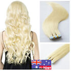 Seamless Tape in Skin Weft Remy Human Hair Extensions Platinum Blonde 16/22Inch
