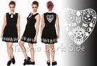 Banned Moonlight Silence Ouija Print Cat White Collar Occult Nu Goth Dress