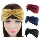 Women Multicolor Turban Velvet Headband Twist Crossed Sports Headwear Hairband