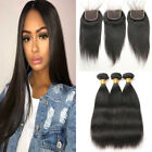 Peruvian Human Hair Straight Hair with Lace Closure & Baby Hair Weave Weft US