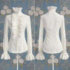 UK STOCK Women Lady OL Shirts Frilly Ruffles T shirt Tops Flounce Blouse Clothes