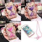 Handmade Cute Bling Glitter Crystal Flowers Diamond Case Cover+Strap For Xiaomi