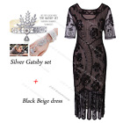 Women Flapper Dress Sequin Beaded Party Mid-Sleeve Evening Cocktail Prom Costume