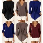 Womens Fashion Long Sleeve T-Shirt V-Neck Blouse Chiffon Shirt Tops Plus Size HX