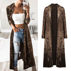 Coat Womens Lady Handsome Casual Long Sleeve Velvet Cardigan Long Jacket Outwear