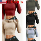 US Sexy Women High Neck Shirt Bodycon Crop Top Ladies Long Sleeve Stretch Blouse