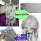 """Seamless Tape in Skin Weft Real Remy Human Hair Extensions Gray 16""""18""""20""""AUStock"""