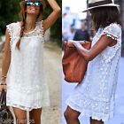 Summer Womens Fashion Lace Floral Tops T-shirt Party Evening Ladies Mini Dress