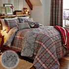 100% Brushed Cotton Flannelette Tartan Stag Reversible Bedding, Silver Grey Red