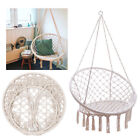 Beige Hanging Cotton Rope Macrame Hammock Chair Outdoor Garden Swing Relaxing US