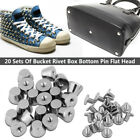 20 Sets 7x10mm Silver/Gold Metal Flat Head Bucket Studs Rivet For Leather Craft