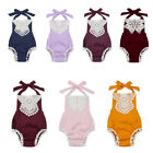 sunsuit for girls - Backless Halter Romper Bodysuit Sunsuit Clothes Outfits For Toddler Baby Girls
