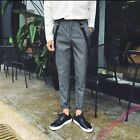 Hot Mens Fashion Striped Plaids Slim Fit Skinny Pants Casual Suspender Trousers