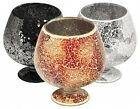 MOSAIC GLASS HURRICANE VASE - AVAILABLE IN BLACK OR MIRRORED