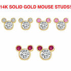 14k Real Solid Gold Mouse Children Screwback Baby Girls Earrings