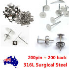 200x Earring Stud Posts 4/6/8/12mm Pads And Backs Hypoallergenic Surgical Steel