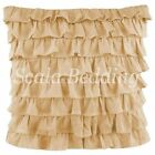 SOLID 2PC MULTI RUFFLED PILLOW SHAMS 100% COTTON CHOOSE SIZES & COLORS EURO/BODY