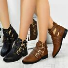 Womens Ladies Flat Low Heel Chelsea Studded Ankle Boots Cut Out Buckle Shoes