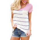 Ladies Summer Short Sleeve Round Neck Striped Casual T-shirts Slim Blouse Pink