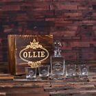 Personalised Whisky Decanter with Round Bottle Lid, Whiskey Glasses & Wood Box