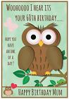 Personalised Owl Birthday Card (3 Designs) - Any name, age, relation - Lovely !