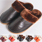 New MENS FLEECE FUR LINED Home SLIPPERS Cow LEATHER WINTER LOAFERS SHOES SIZE