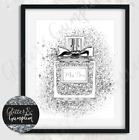 Fashion PRINT SILVER Faux Glitter miss diva Perfume beauty room OFFICE Art