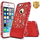 iPhone 5 5s SE Case Studded Diamond Glitter Super Slim TPU Leather Hybrid Cover
