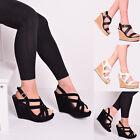 Ladies Women Wedge High Heel Strappy Peep Toe Summer Sandal Party Shoes Size 3-8