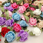 bows decoration - 15/30/150pcs Ribbon Flower Bows W/rose Appliques Wedding Decoration Craft A246