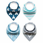 4pcs Baby Bibs Boy Pure Cotton Bandana Feeding Kids Toddler Blue Gray Deer Green