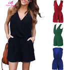 Women V Neck Sleeveless Clubwear Chiffon Playsuit Bodycon Party Jumpsuit Romper