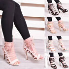 Women Ladies Girls Lace Up High Heels Party Stiletto Open Toe Prom Shoe Size 3-8