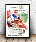 Ponds powder : Vintage  Make-up Advertising, Wall art , poster, Reproduction.