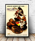 South Africa SAS : Vintage Travel advert, Wall art ,poster, Reproduction.